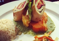 Chicken Breast stuffed with Hoja Santa, Poblano Peppers & Manchego Cheese